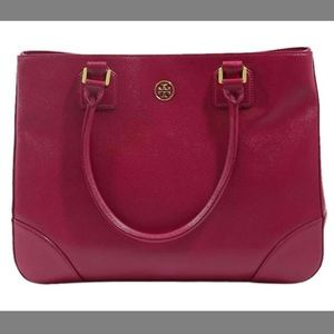 Tory Burch Raspberry Parent Leather Robinson Tote
